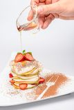 Strawberry dessert with syrup Royalty Free Stock Image