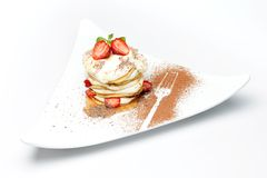 Strawberry dessert with syrup Royalty Free Stock Photo
