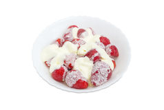 Strawberry dessert with whipped cream Royalty Free Stock Photo