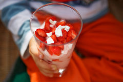 Strawberry dessert with yoghurt cream and meringue in glass Royalty Free Stock Photo