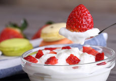Strawberry dessert with yogurt Stock Image