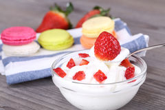 Strawberry dessert with yogurt Royalty Free Stock Photos