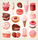 Strawberry desserts. Set of delicious sweets and desserts with strawberry flavor for valentine day royalty free illustration