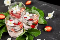 Strawberry detox water with jasmine flower. Summer iced drink. Or tea. Lemonade with berry. Flavored Water in glasses with Fresh Strawberry. Diet stock image