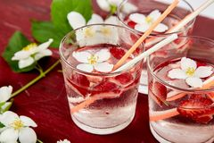 Strawberry detox water with jasmine flower. Summer iced drink. Or tea. Lemonade with berry. Flavored Water in glasses with Fresh Strawberry. Diet royalty free stock photos