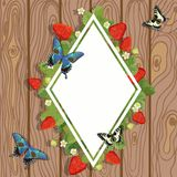 Strawberry diamond border. Vector illustration of strawberry text frame with leaves, flowers and butterflies on wooden background stock illustration