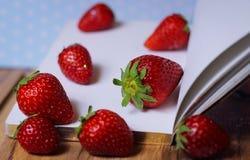 strawberry diary book fresh fruit Stock Photos