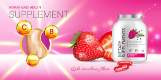 Strawberry dietary supplement ads. Vector Illustration with supplement contained in bottle and strawberry elements Stock Images