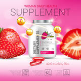Strawberry dietary supplement ads. Vector Illustration with supplement contained in bottle and strawberry elements. Poster Royalty Free Stock Images