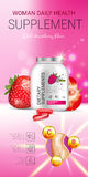 Strawberry dietary supplement ads. Vector Illustration with supplement contained in bottle and strawberry elements Royalty Free Stock Photos