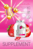 Strawberry dietary supplement ads. Vector Illustration with supplement contained in bottle and strawberry elements Stock Photo