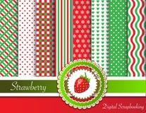 Strawberry digital scrapbooking Stock Image