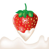 Strawberry dipped in cream and splash Stock Image