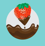 Strawberry dipped in liquid chocolate with splash Stock Images