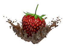 Strawberry dipped in melting dark chocolate Royalty Free Stock Photo