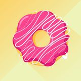 Strawberry donut with glaze. Vector image, long shadow. Sweet pastry: a cute donut with pink glaze and vanilla flavor, over yellow background stock illustration
