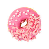 Strawberry donut with pink glazes, pink chocolate chips and pear Stock Photo