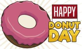 Strawberry Doughnut with Sign and Calendar for Donut Day Celebration, Vector Illustration. Delicious doughnut with strawberry glaze and calendar with reminder stock illustration