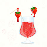 Strawberry juice vector. Funny strawberry cartoon vector illustration. Strawberry drink. Cocktail vector.  Royalty Free Stock Images
