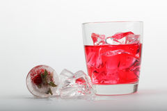 Strawberry drink with ice Stock Photography