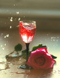 Strawberry Drink Splash. With rose Royalty Free Stock Photos