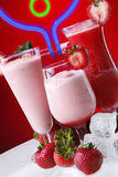 Strawberry drinks and neon Royalty Free Stock Photo