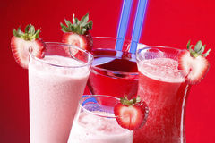 Strawberry drinks and neon Stock Image