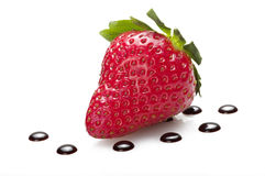 Strawberry with drop of chocolate Royalty Free Stock Photos