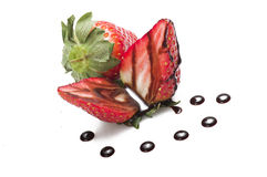 Strawberry with drop of chocolate Royalty Free Stock Images