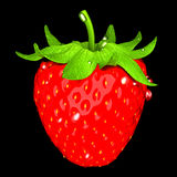 Strawberry with droplets isolated over black Royalty Free Stock Photos