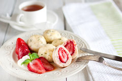 Strawberry dumplings Royalty Free Stock Photos