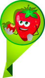 Strawberry eating apple label Royalty Free Stock Images
