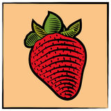 Strawberry-engraving-color stock illustration