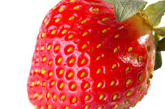 Strawberry in extreme close-up. A strawberry isolated in white background in extreme close-up Stock Photos