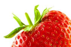 Strawberry extreme close-up on white background Stock Image