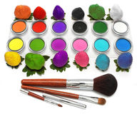 Strawberry and Eyeshadow Stock Images