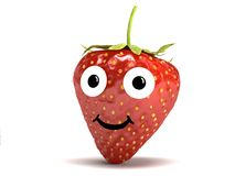 Strawberry with face Stock Photos