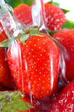 Strawberry falling Royalty Free Stock Image