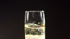 Strawberry falling in a glass of champagne in dark stock footage