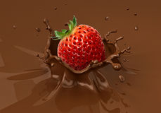 Strawberry falling into liquid chocolate splashing. Close up view Royalty Free Stock Photography