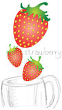 Strawberry falling in mug glass line sketch difference for emphasize pointer  to strawberry are very look fresh. Coffee beans falling in spoon design for sign or Stock Image