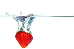 Strawberry falling into water with a splash. Red strawberry falling into water with a splash royalty free stock photo