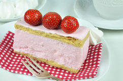 Strawberry Fancy Cake and Whipped Cream Stock Photos