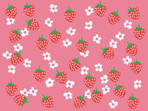 Strawberry field. Strawberries and flowers on pink background Stock Photo