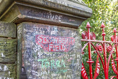 Strawberry Field gate in Beaconsfield Road in Woolton, Liverpool. The place is famous by The Beatles song Strawberry Fields Forever, written by John Lennon Stock Photos