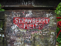 Strawberry Field in Liverpool. LIVERPOOL, UK - CIRCA JUNE 2016: Strawberry Field gate in Beaconsfield Road in Woolton made famous by The Beatles song Strawberry Royalty Free Stock Images