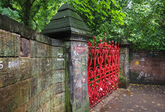 Strawberry Field in Liverpool. LIVERPOOL, UK - CIRCA JUNE 2016: Strawberry Field gate in Beaconsfield Road in Woolton made famous by The Beatles song Strawberry Royalty Free Stock Photography