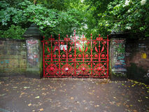 Strawberry Field in Liverpool. LIVERPOOL, UK - CIRCA JUNE 2016: Strawberry Field gate in Beaconsfield Road in Woolton made famous by The Beatles song Strawberry Stock Photos