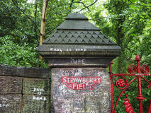 Strawberry Field in Liverpool. LIVERPOOL, UK - CIRCA JUNE 2016: Strawberry Field gate in Beaconsfield Road in Woolton made famous by The Beatles song Strawberry Stock Photography