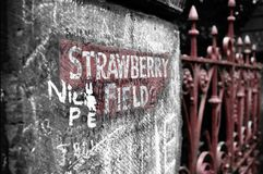 Strawberry Fields. Wall and fence of Strawberry Fields Stock Photography